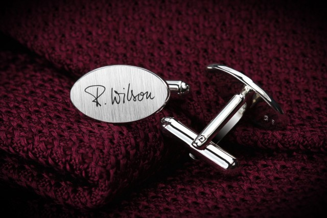 Engraved cufflinks with your handwriting