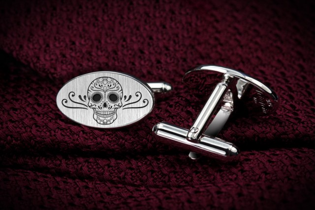Engraved Sugar Skull cufflinks