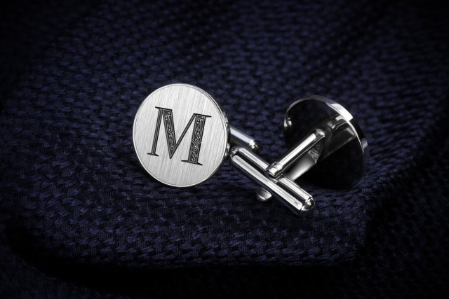 Engraved cufflinks with your ornament initials