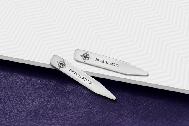 Engraved Collar Stays with handwriting